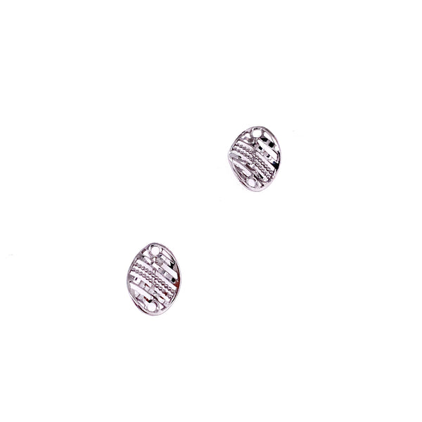 Silver Earring, Meshed Oval, Rhodium Plated, 1 Pair