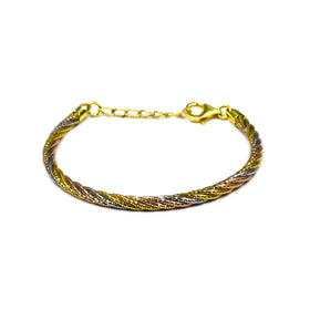 Silver Spring Omega Bracelet, 3.8mm, (1.3x5), RH+Gold+Rose, 16cm + 3cm Ext, AT