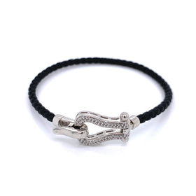 Leather Bracelet Black 3mm, Silver Horseshoe with CZ, PT Plated, 18cm