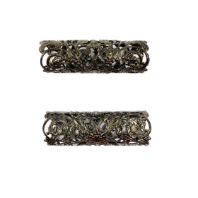 Brass Filigree, Round Tube, 50x16mm, Black Nickel Plated