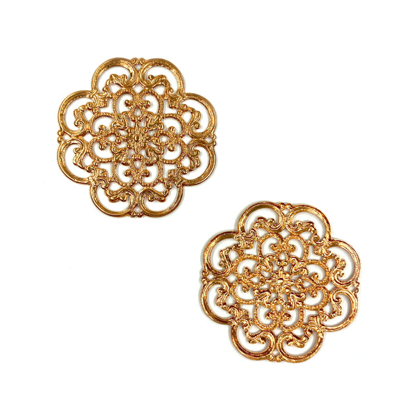 Brass Filigree, Flower 40mm, Anti Copper Plated
