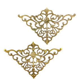 Brass Filigree, Triangle 50x80mm, Anti Brass Plated