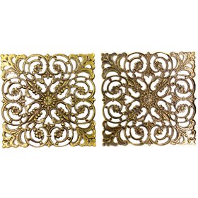 Brass Filigree, Square 50mm, Anti Brass Plated
