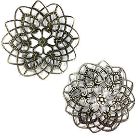 Brass Filigree, Arc Shape 60mm, Anti Mat Silver Plated