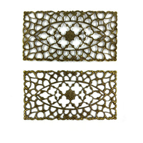 Brass Filigree, Rectangle 70x36mm, Anti Brass Plated