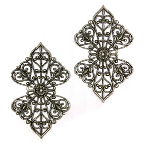 Brass Filigree, Butterfly Patten 72x43mm, Anti Mat Silver