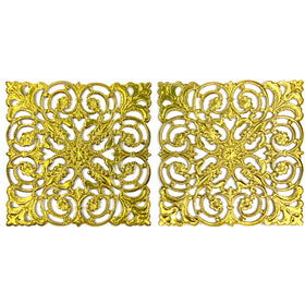 Brass Filigree, Square 50mm, Raw