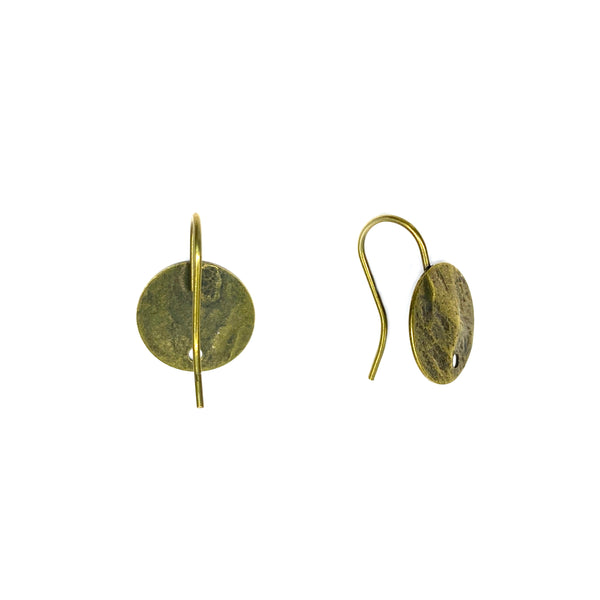 Brass Ear Wire, with 12mm Pad & Hole, Anti Anti-Brass