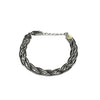 Silver Braided Chain, Two-Tone, 16+3cm Ext, AG+Black Rhodium Plated