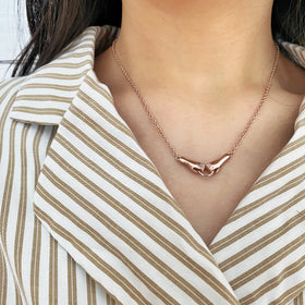 Silver Necklace, Holding Hands, 42+5cm Ext, Rose Gold Plated (1 mic)