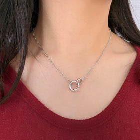 Silver Necklace, Connecting Rings w/CZ, 42+5cm Ext, RH Plated