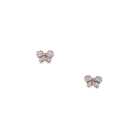 Silver Earring, Butterfly with CZ, PT Plated