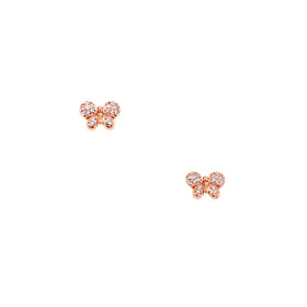 Silver Earring, Butterfly with CZ, Rose Gold Plated