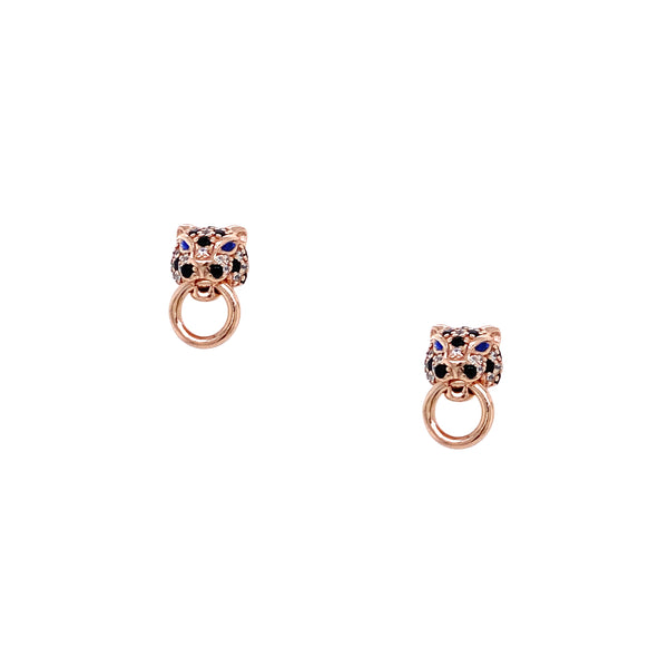 Silver Earrings, Leopard w/Black & White CZ, Rose Plated, 1 Pair