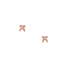 Silver Earring, Cross with CZ, Rose Gold Plated