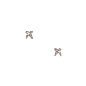 Silver Earring, Cross with CZ, PT Plated