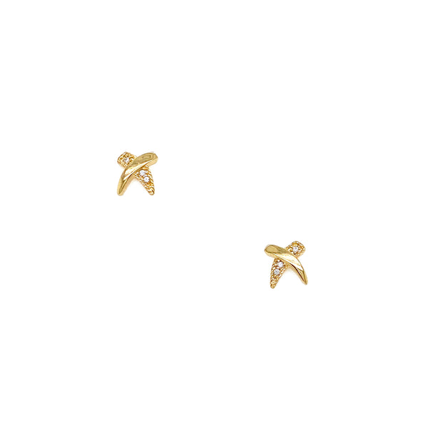 Silver Earring, Cross with CZ, Gold Plated
