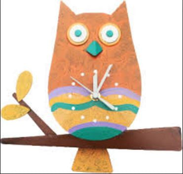 Owl in Orange Wall Clock