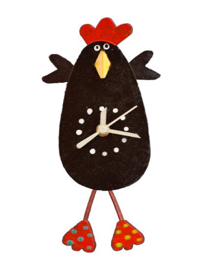 Black Chicken Wall Pendulum Clock