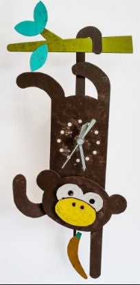 Brown Monkey Pendulum Wall Clock