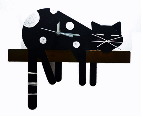 Black Sleepy Cat Pendulum Wall Clock