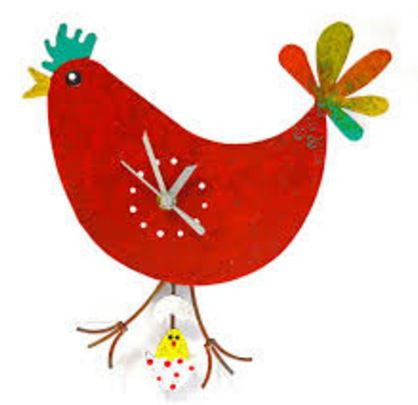 Chicken & Hatchling Pendulum Wall Clock