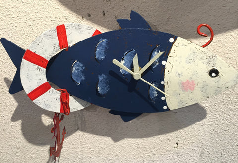Fish With Anchor Wall Clock