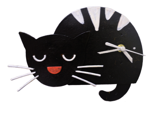 Black Sleepy Kitten Pendulum Wall Clock