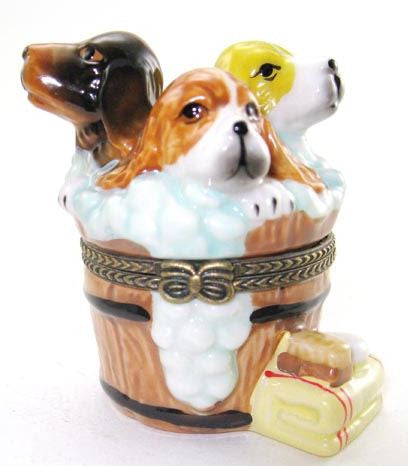 Three Dogs in a Bath Ceramic Box