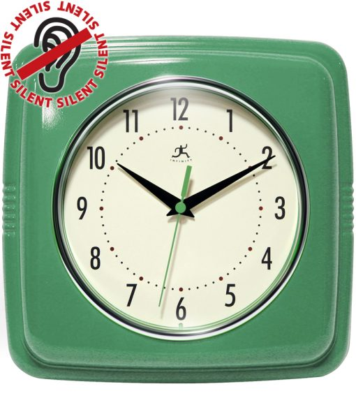 Square Green Wall Clock