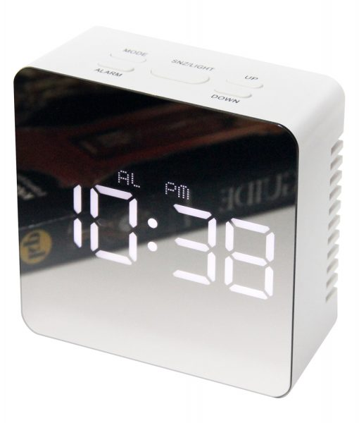 Square Mirrored Alarm Clock