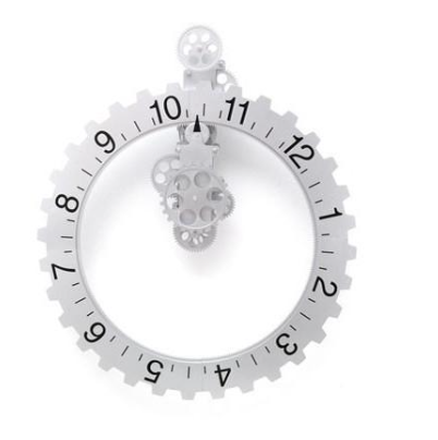 Silver Dial Large Gear Wall Clock