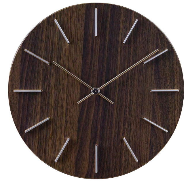 Wall Clock Wood Grain Brown 12""
