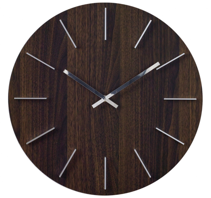 Wall Clock Wood Grain Brown 16""
