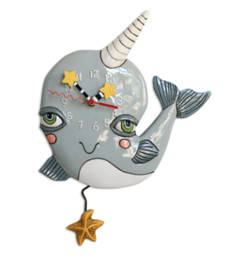 Narly Narwhal Pendulum Wall Clock