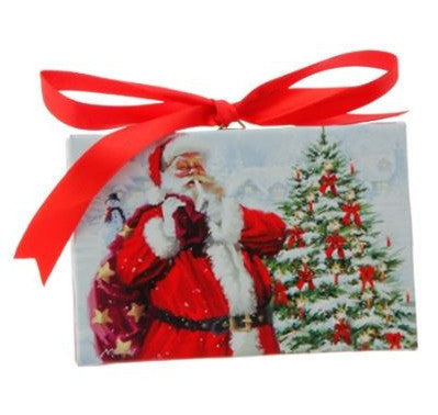 Santa at the Tree Lighted Print Ornament