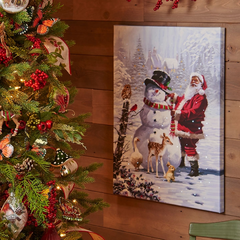 Santa with Snowman Lighted Print