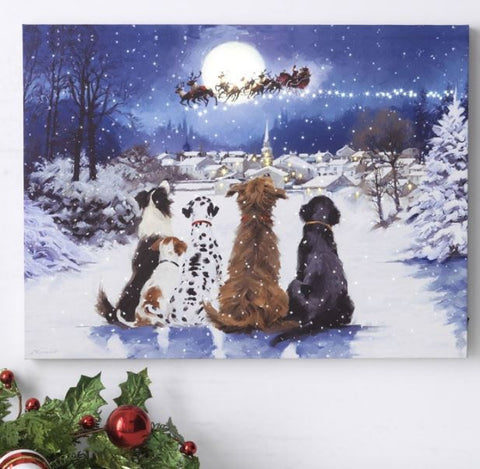 Dogs Watching Santa & the Moon Lighted Print