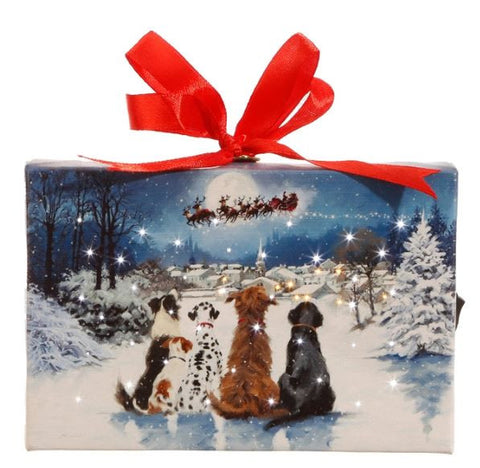Dogs Watching Santa & the Moon Lighted Print Ornament