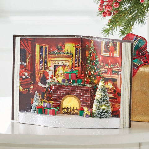 Fireplace Scene Lighted Book