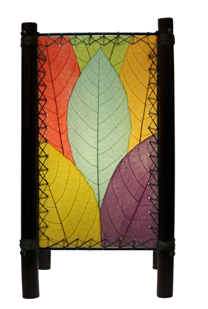 Fortune Real Leaves Table Multi-colored, Fair-Trade, Sustainable Lamp