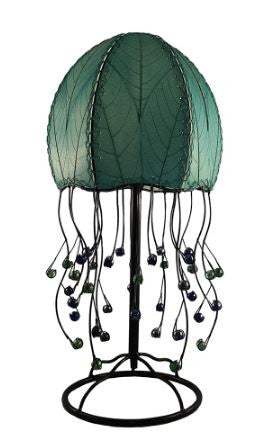 Jellyfish Real Leaves, Sustainable, Fair-trade Sea-blue Table Lamp