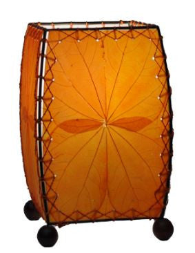 Mini Square Real Leaves, Sustainable, Fair-trade Orange Table Lamp