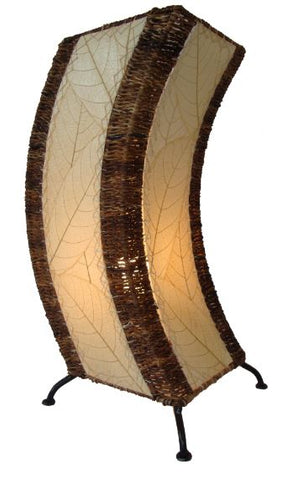 C Shape Natural Real Leaves, Sustainable, Fair Traded, Table Lamp
