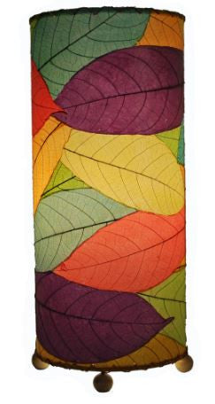 Cocoa Leaf Real Leaves, Sustainable, Fair-trade Multicolor Cylinder Table Lamp