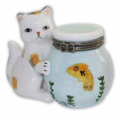 Cat Holding Goldfish Bowl Ceramic Box