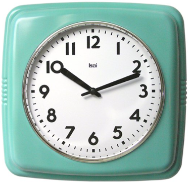 Sqaure Retro Turquoise Wall Clock