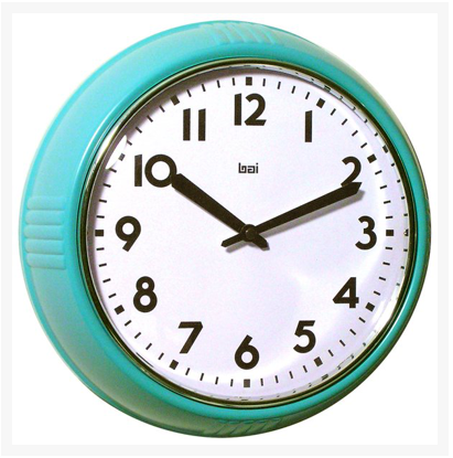 Retro Turquoise School Wall Clock