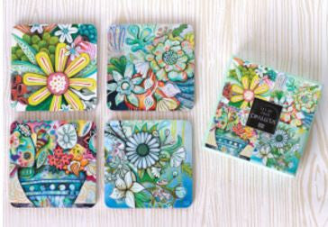 4 Piece Bountiful Blooms Coaster Set