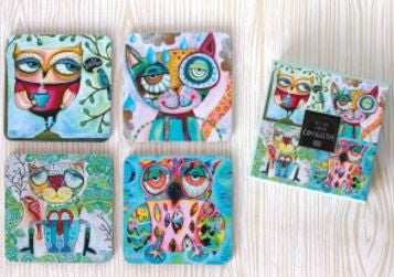 4 Piece Owl & Cat Coaster Set